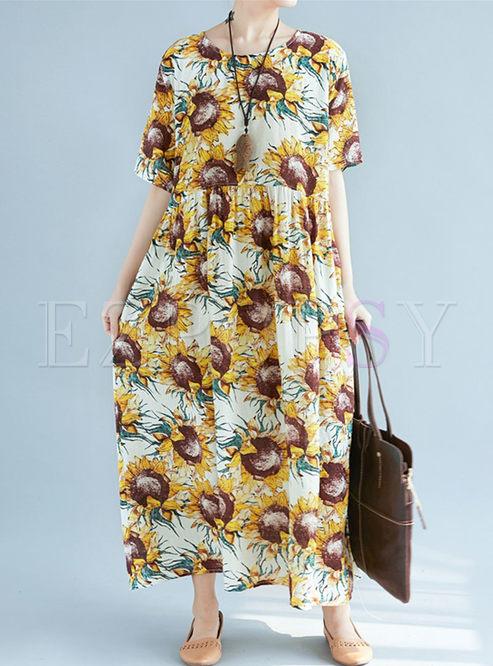 Dresses Maxi Dresses Vintage Sunflower Print Plus Size