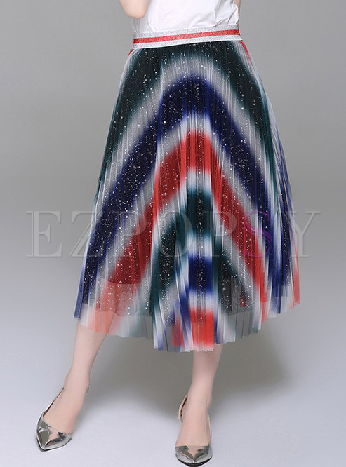 Colorful Striped Mesh A Line Skirt