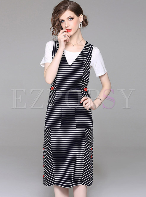 183c7c5b22a8 Two-piece Outfits.   White Round Neck T-shirt   Striped Sleeve Skater Dress