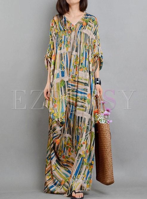 Silk Color-blocked Asymmetric Maxi Dress