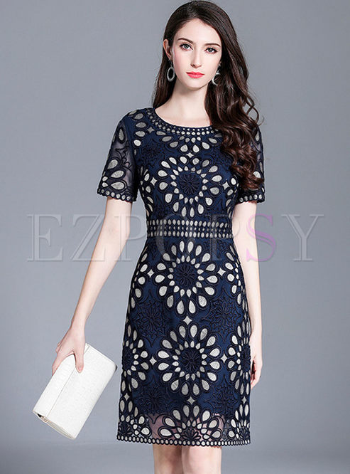 Blue Fashion Slim Hollow Out Dress