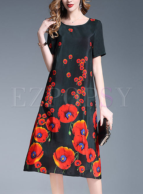 a64e03e1e31 Shift Dresses.   Silk Floral Print Plus Size Dress