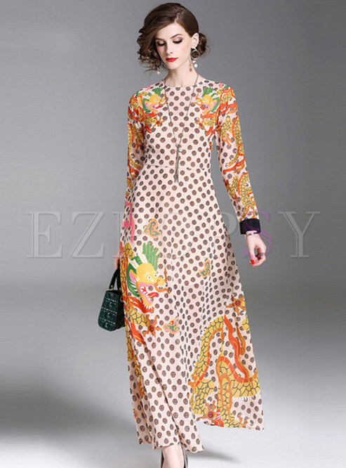 Chiffon Print Long Sleeve Maxi Dress