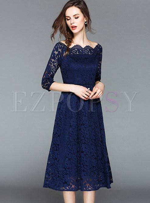 Blue Lace Slash Neck A Line Dress