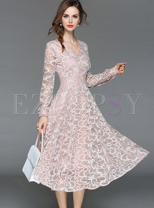 c90f39fcd1 Skater Dresses.   Pink Elegant Embroidered Lace Dress