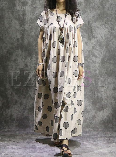 Beige Linen Dot Print Plus Size Maxi Dress