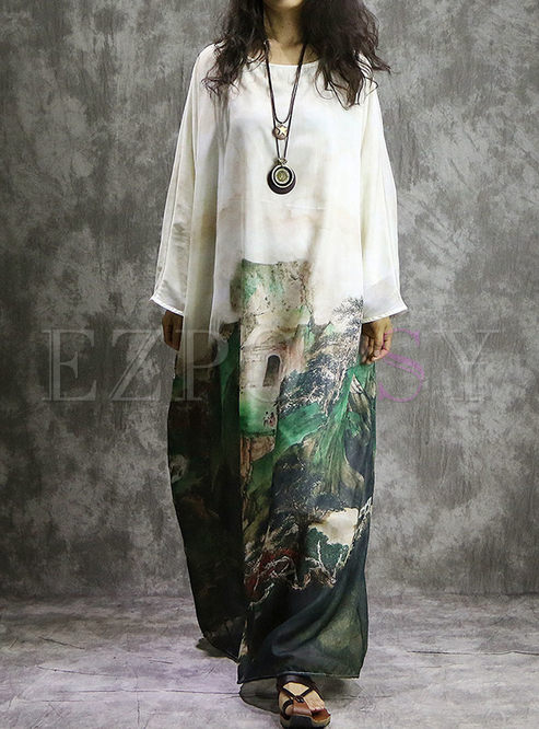 Vintage Print Batwing Sleeve Plus Size Dress