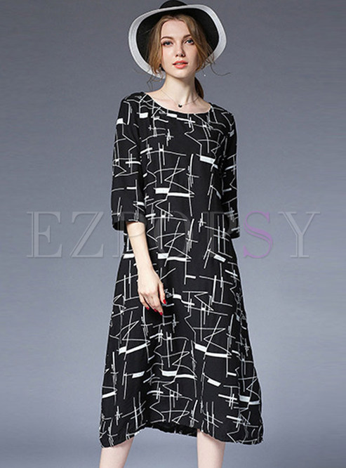 Dresses Shift Dresses Plus Size Loose Print Color Blocked Dress