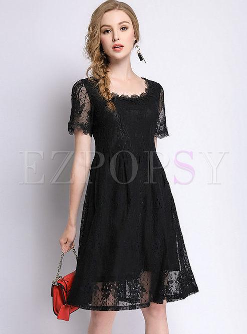 Dresses Skater Dresses Black Lace See Through Plus Size Dress