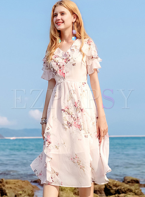 Pink Sweet Flower Print A Line Dress