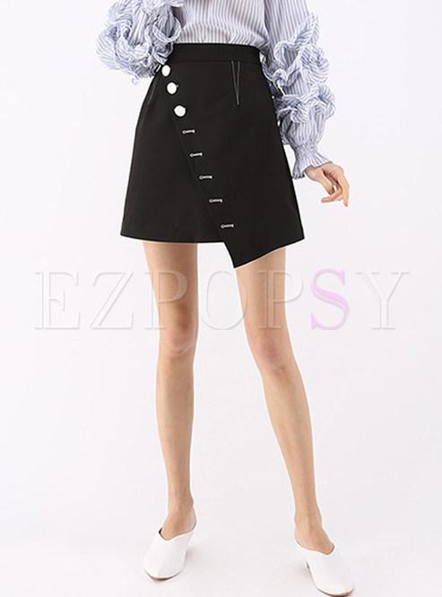 8e1c5b35f51 Skirts.   Black Button Design Asymmetric A Line Skirt