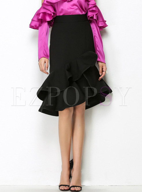 Black High Waist Falbala Sheath Skirt