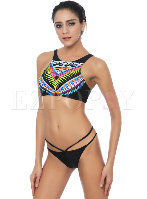 Sexy Print Adjustable Two Piece Swimsuit