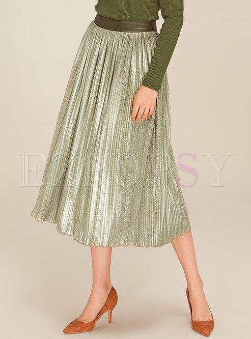 Green Antique High Waist Pleat Skirt