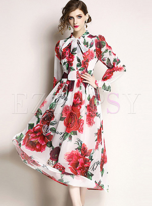 Stylish Floral Print Bowknot Tied Skater Dress
