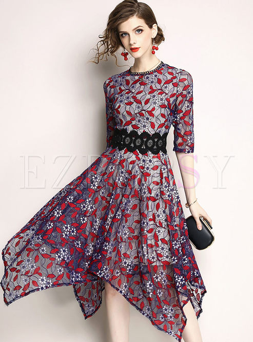 Hit Color Lace Asymmetric Dress