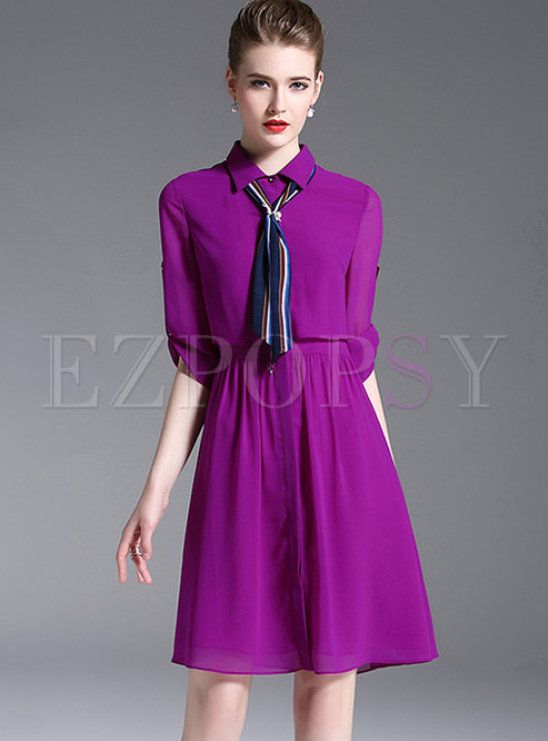 Purple Stylish Lapel Shirt Dress