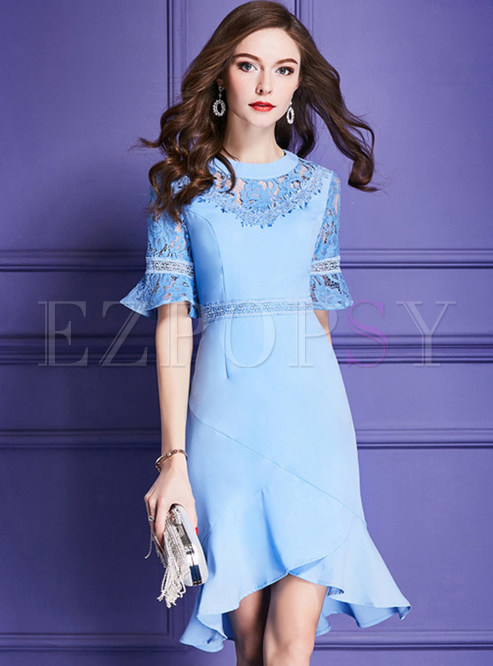 Blue Elegant Flare Sleeve Mermaid Dress