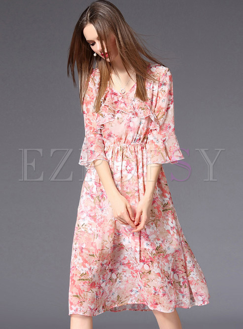 Pink Flare Sleeve Floral Print Midi Dress