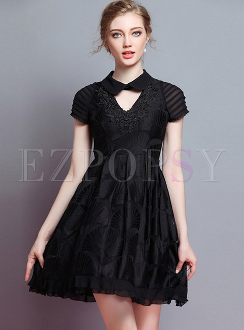 Black Embroidered Lapel A Line Dress