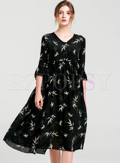 Dresses Shift Dresses Black Cute Print Loose Shift Dress