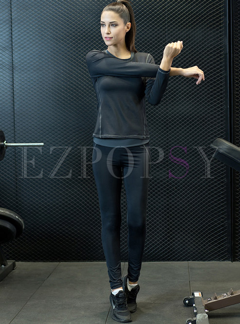 Sport Yoga Slim Round Neck Tracksuit