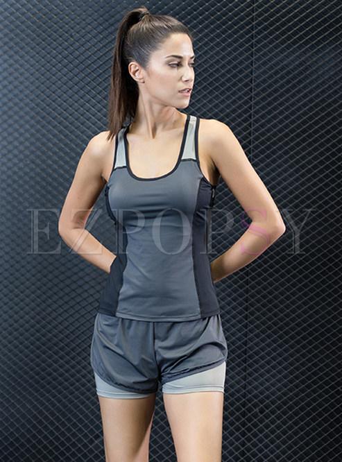 Hit Color Slim Scoop Sport Vest