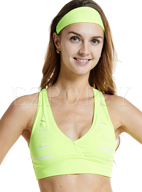 2de8e018389f4 Sports Bras.   Hollow Out V-neck Sport Bra Without Wire Ring