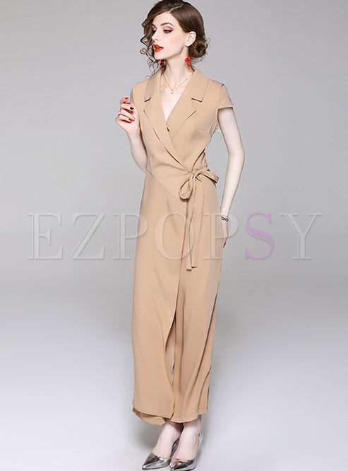 5f35eebca8b1 Pants.   Solid Color Notched Bowknot Work Jumpsuit