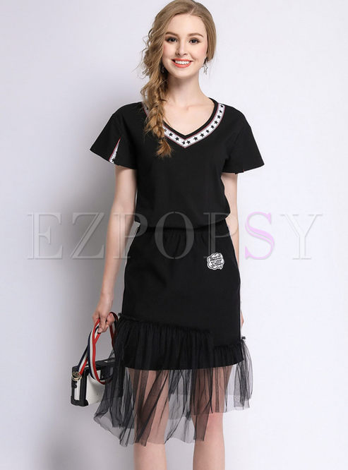 99e2b0a54820 Two-piece Outfits | Two-piece Outfits | Casual Black short sleeve ...