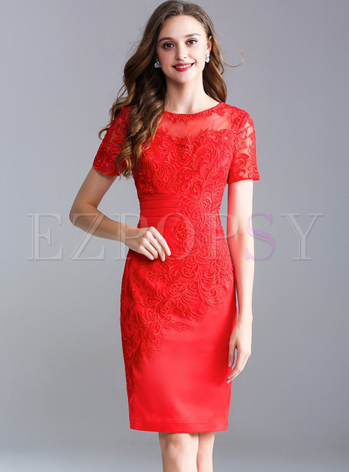 Red Mesh Embroidered Bodycon Dress