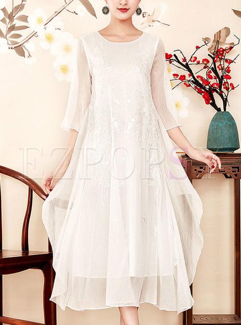 Dresses Shift Dresses White Casual Plus Size Pleated Formal Dress