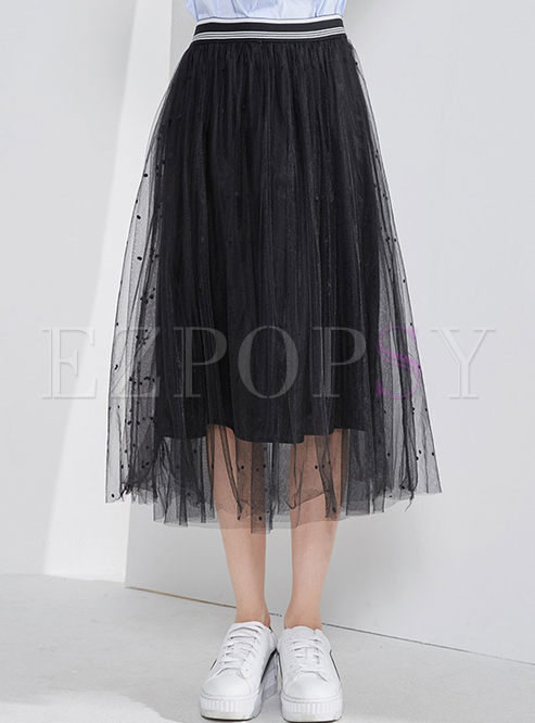 Street Black All-match Long Gauze Skirt