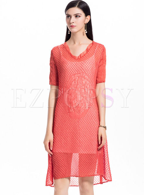 Orange Chiffon Shift Dress With Camis