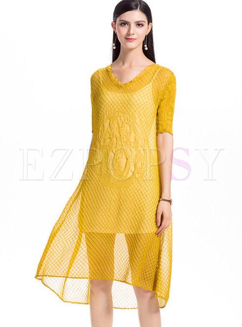 Yellow Chiffon Shift Dress With Camis