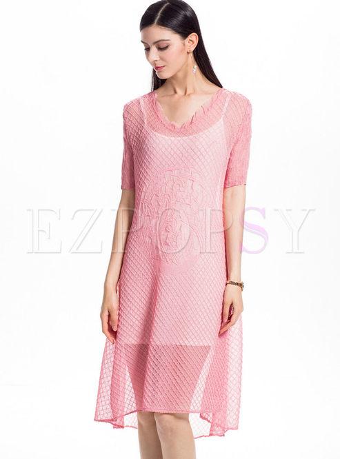 Pink Chiffon Shift Dress With Camis