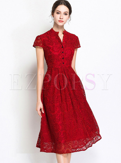 Red V-neck Short Sleeve Lace Skater Dress