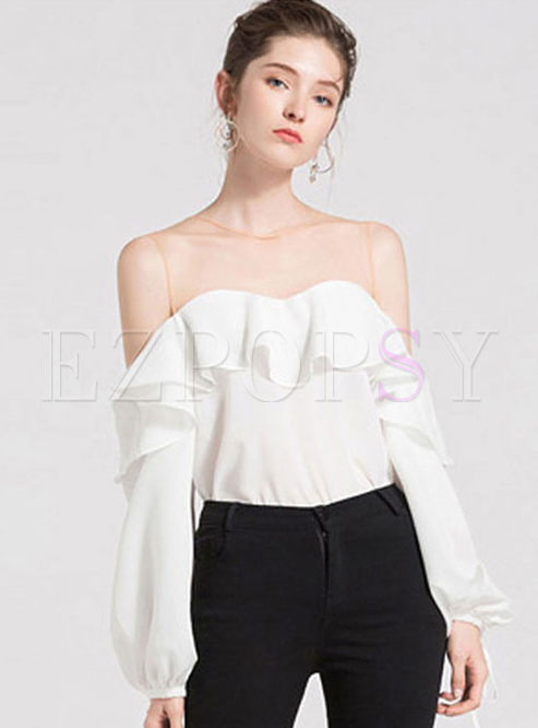 White Round Neck Puff Sleeve Blouse