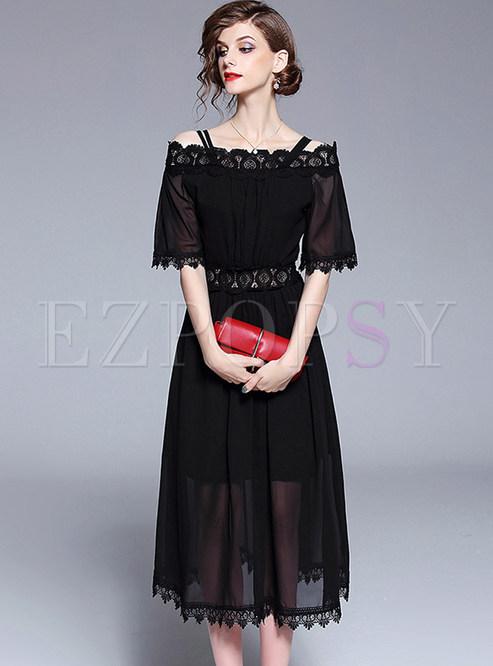 Black Slash Neck Lace Chiffon Dress