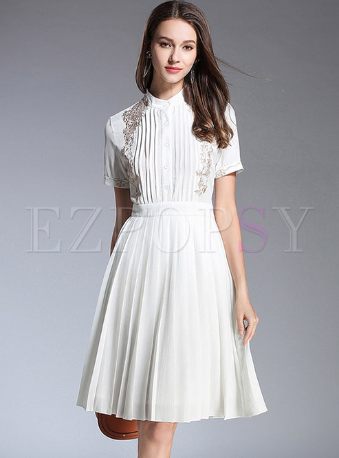 White Stand Collar Embroidery A Line Dress