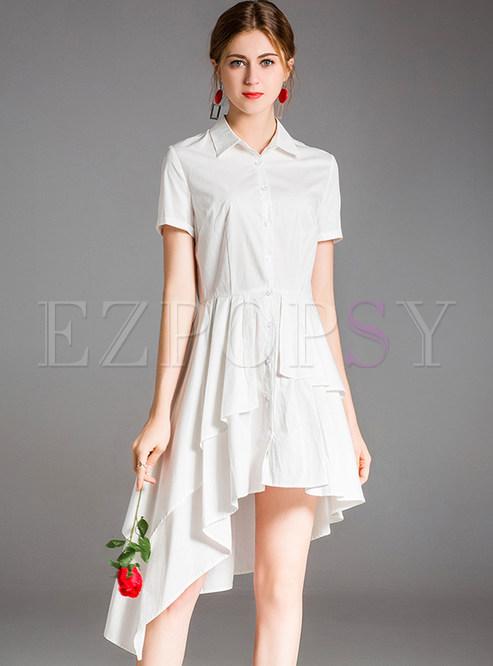 White Falbala Asymmetric Hem Dress