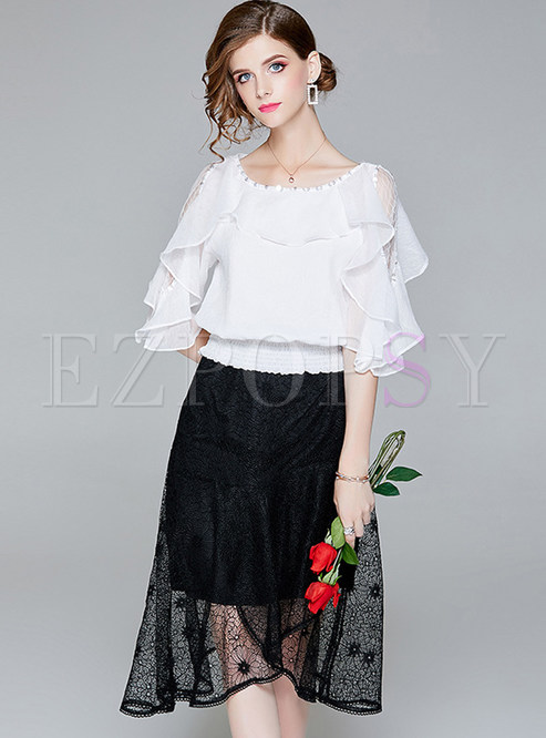 dd6fb84737249a Two-piece Outfits.   White Off Shoulder Blouse   Black Asymmetric Skirt
