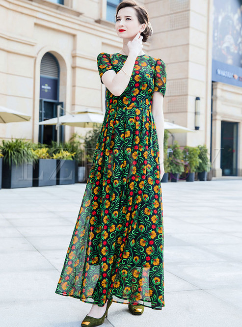 Green Floral Print Slim Chiffon Dress