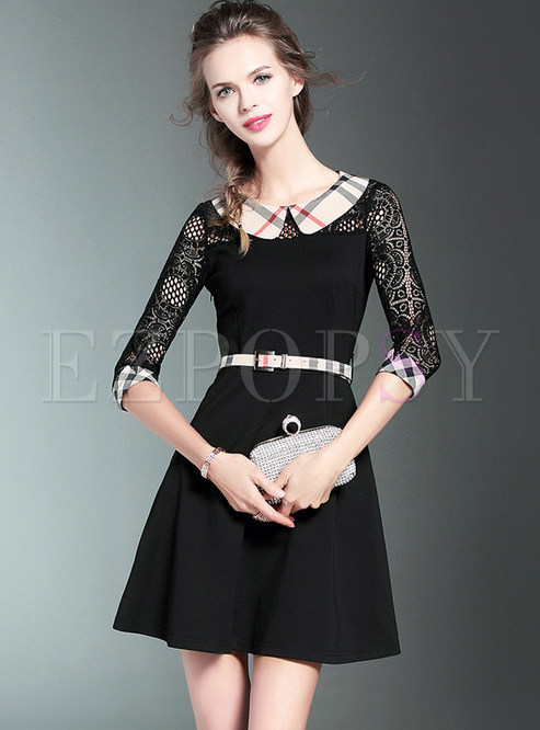Black Hollow Out Lace A Line Dress