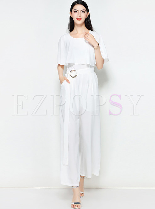 White Fashion Waist Wide Leg Jumpsuit
