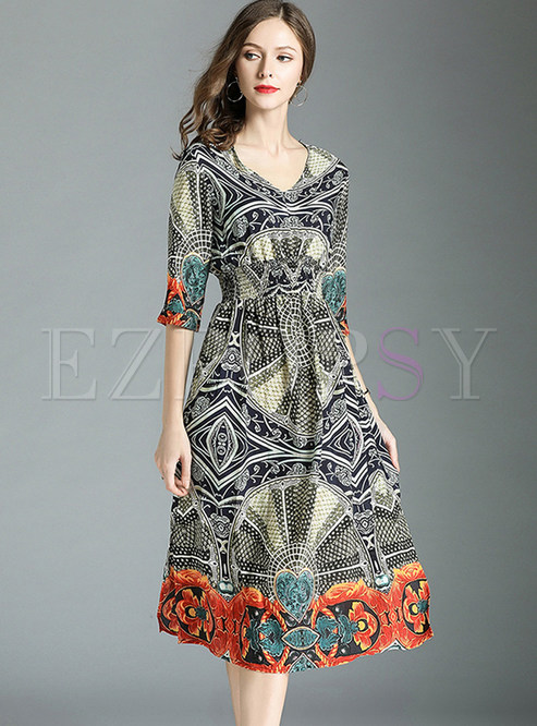 Ethnic Print V-neck Chiffon A Line Midi Dress