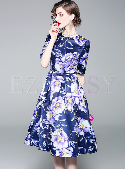 Elegant Purple Print Half Sleeveless Midi Dress