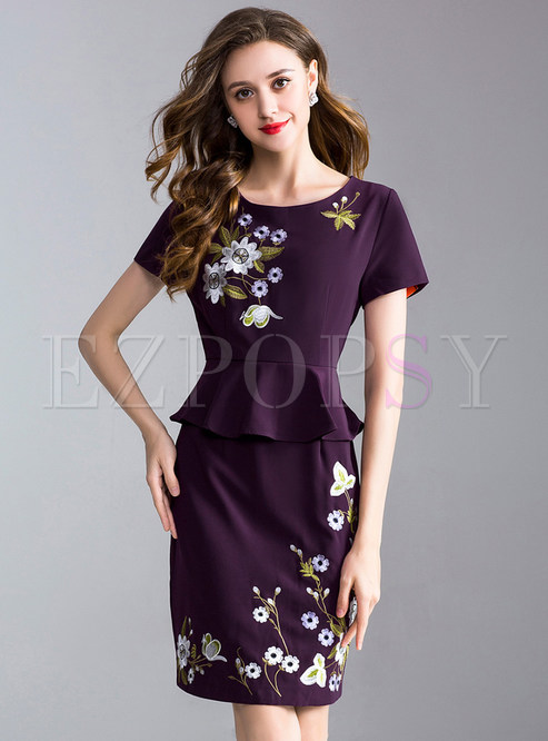 Ethnic Embroidery Falbala Splicing Bodycon Dress