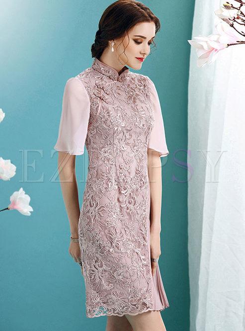 Purple Chiffon Embroidery Stitching Pleated Skater Dress