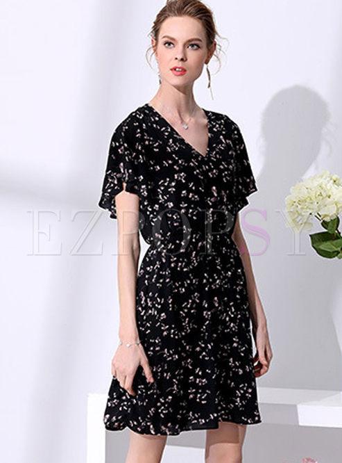 Skater Dresses.   Black Street Floral Print Chiffon A Line Dress d7f5965ac